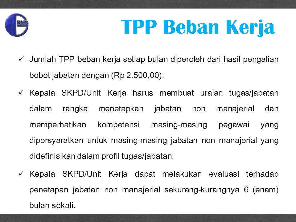 TPP Beban Kerja Jumlah TPP beban kerja setiap bulan diperoleh dari hasil pengalian bobot jabatan dengan (Rp 2.500,00).