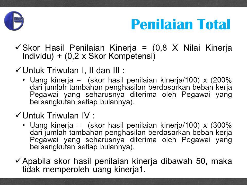 Penilaian Total Skor Hasil Penilaian Kinerja = (0,8 X Nilai Kinerja Individu) + (0,2 x Skor Kompetensi)