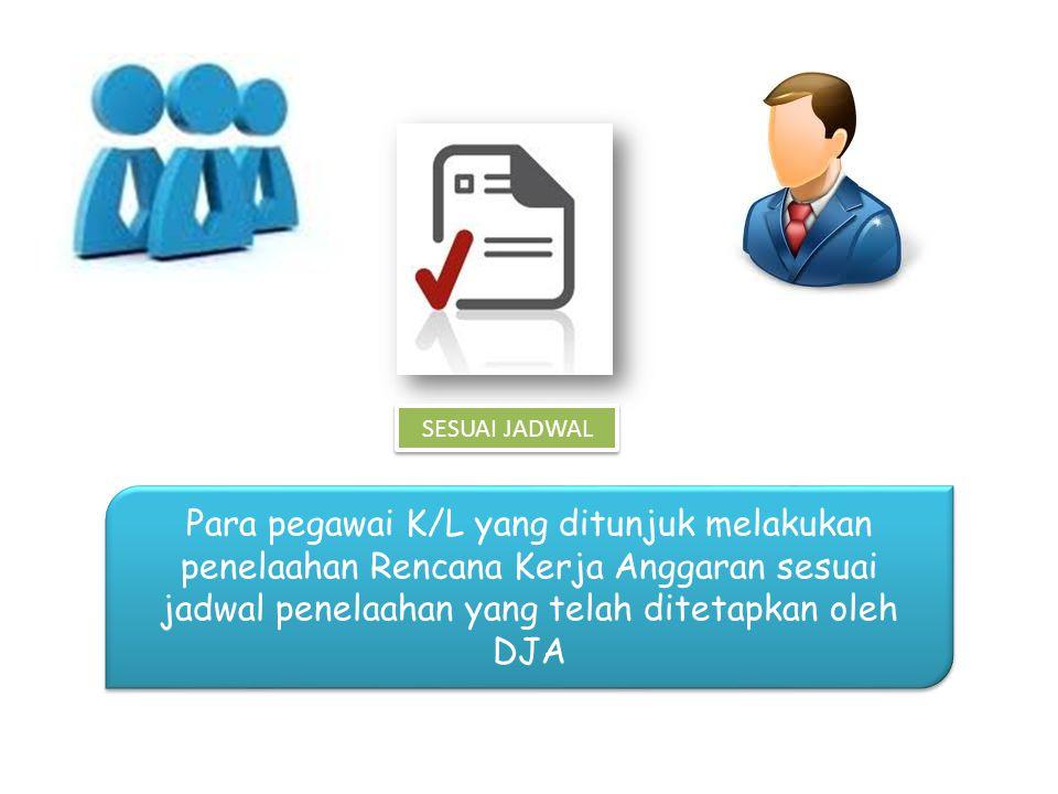 SESUAI JADWAL Para pegawai K/L yang ditunjuk melakukan penelaahan Rencana Kerja Anggaran sesuai jadwal penelaahan yang telah ditetapkan oleh DJA.