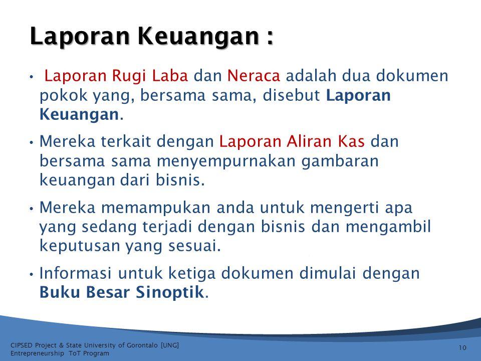 Laporan Keuangan : Laporan Rugi Laba dan Neraca adalah dua dokumen pokok yang, bersama sama, disebut Laporan Keuangan.