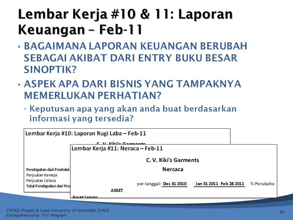 Lembar Kerja #10 & 11: Laporan Keuangan – Feb-11