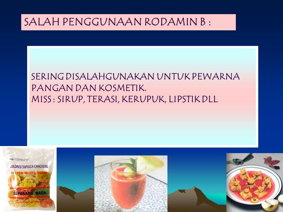 SALAH PENGGUNAAN RODAMIN B :
