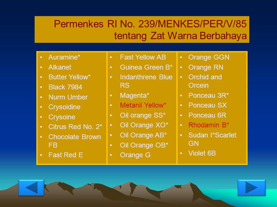 Permenkes RI No. 239/MENKES/PER/V/85 tentang Zat Warna Berbahaya