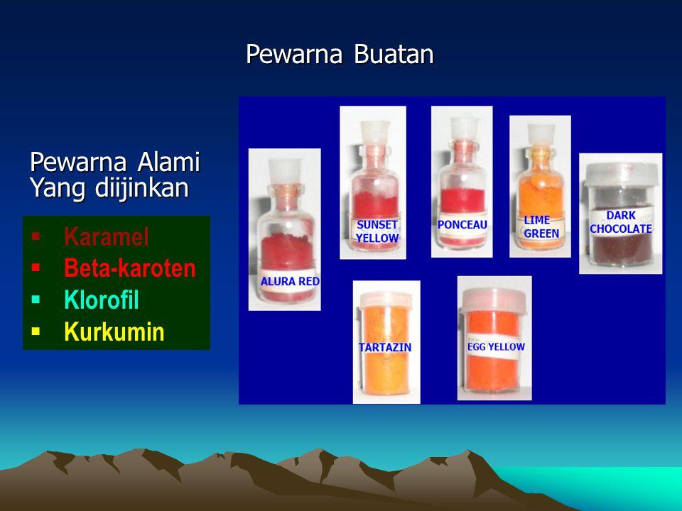 Pewarna Buatan Pewarna Alami Yang diijinkan Karamel Beta-karoten Klorofil Kurkumin
