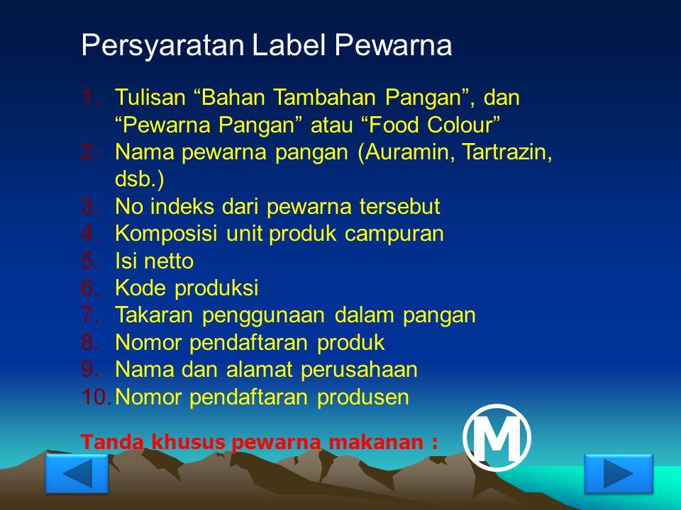 M Persyaratan Label Pewarna