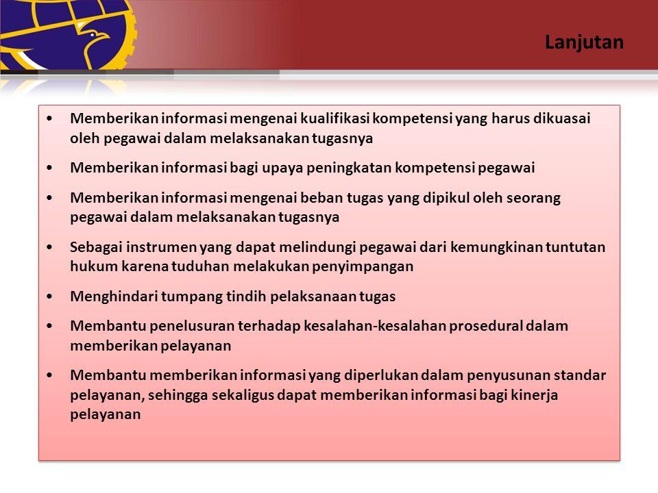 Lanjutan Memberikan informasi mengenai kualifikasi kompetensi yang harus dikuasai oleh pegawai dalam melaksanakan tugasnya.