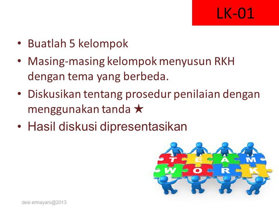 LK-01 Buatlah 5 kelompok. Masing-masing kelompok menyusun RKH dengan tema yang berbeda.