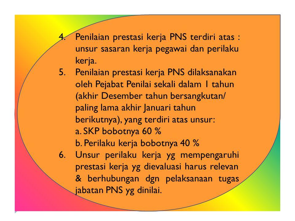 Penilaian prestasi kerja PNS terdiri atas : unsur sasaran kerja pegawai dan perilaku kerja.
