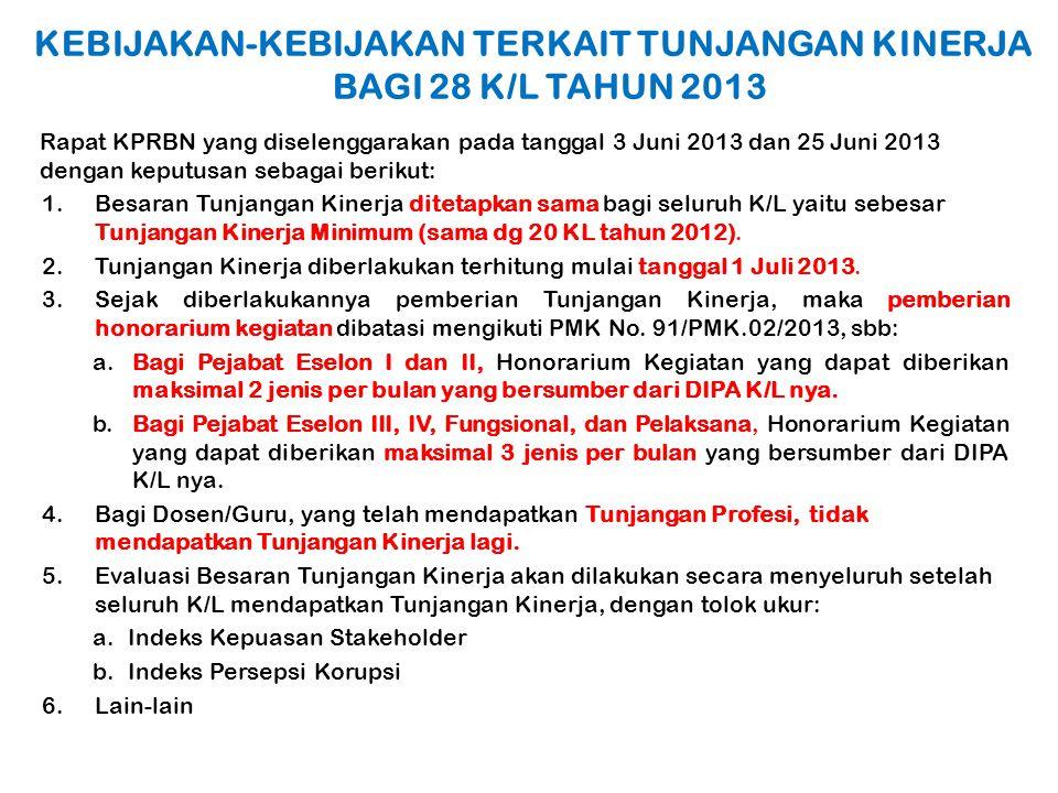 KEBIJAKAN-KEBIJAKAN TERKAIT TUNJANGAN KINERJA BAGI 28 K/L TAHUN 2013