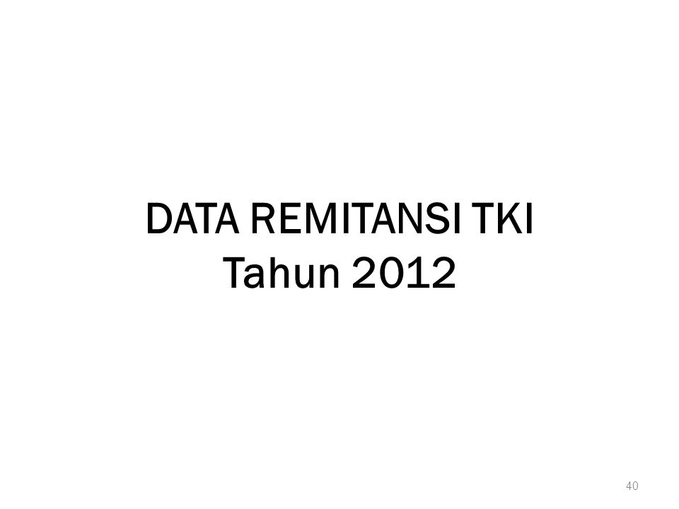 DATA REMITANSI TKI Tahun 2012