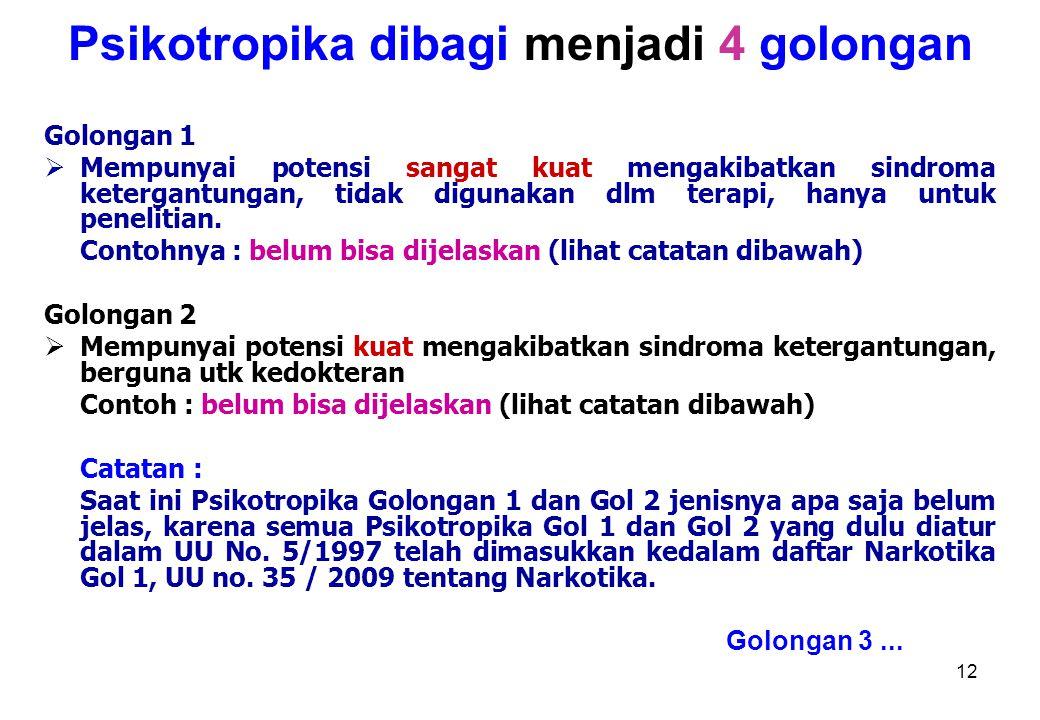Psikotropika dibagi menjadi 4 golongan