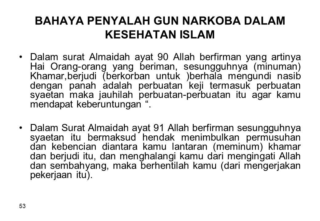 BAHAYA PENYALAH GUN NARKOBA DALAM KESEHATAN ISLAM