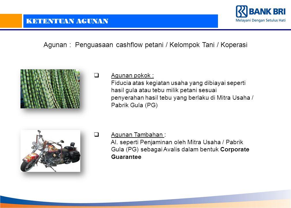 Agunan : Penguasaan cashflow petani / Kelompok Tani / Koperasi
