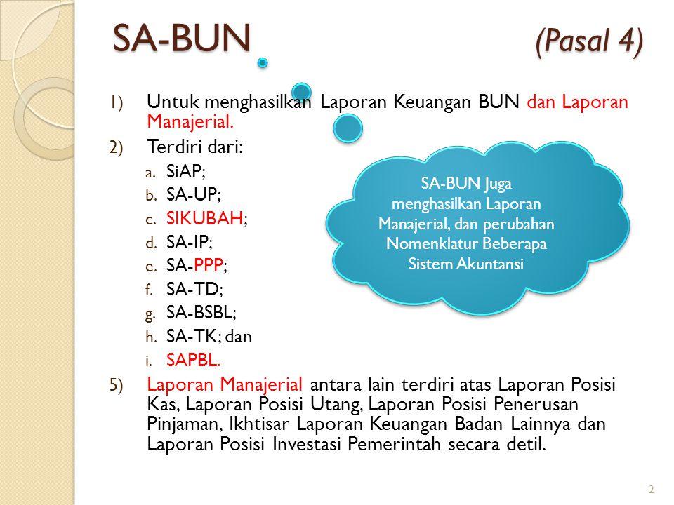 SA-BUN (Pasal 4) Untuk menghasilkan Laporan Keuangan BUN dan Laporan Manajerial.