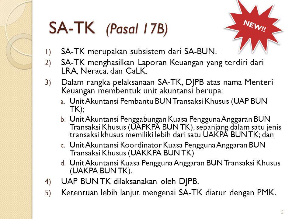 SA-TK (Pasal 17B) SA-TK merupakan subsistem dari SA-BUN.