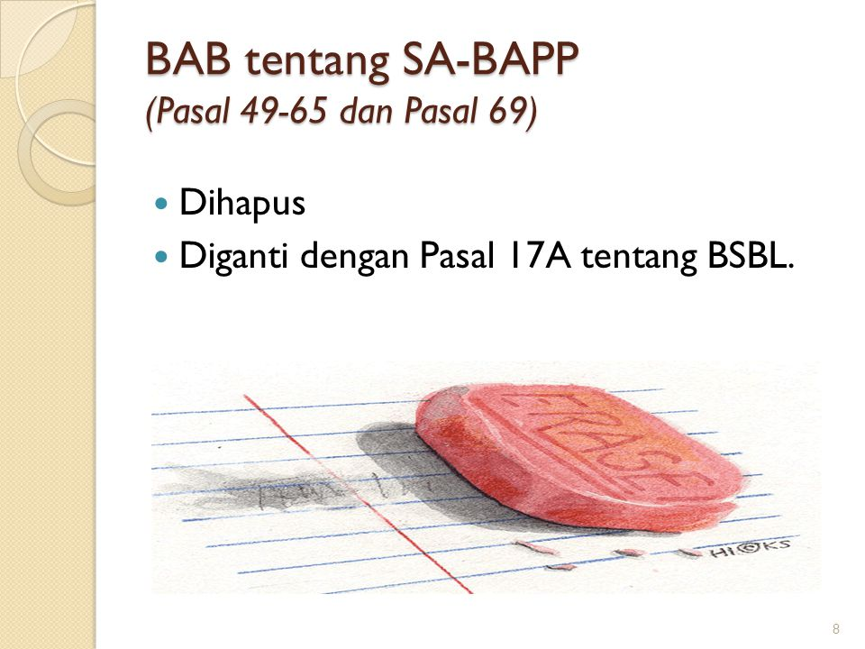 BAB tentang SA-BAPP (Pasal 49-65 dan Pasal 69)