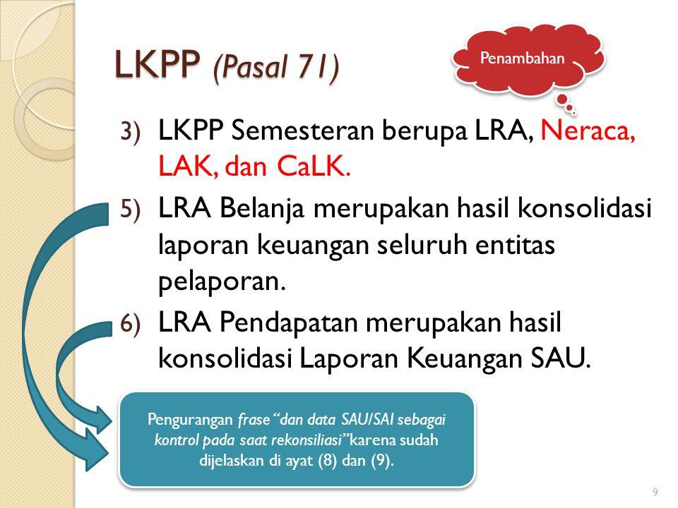 LKPP (Pasal 71) LKPP Semesteran berupa LRA, Neraca, LAK, dan CaLK.