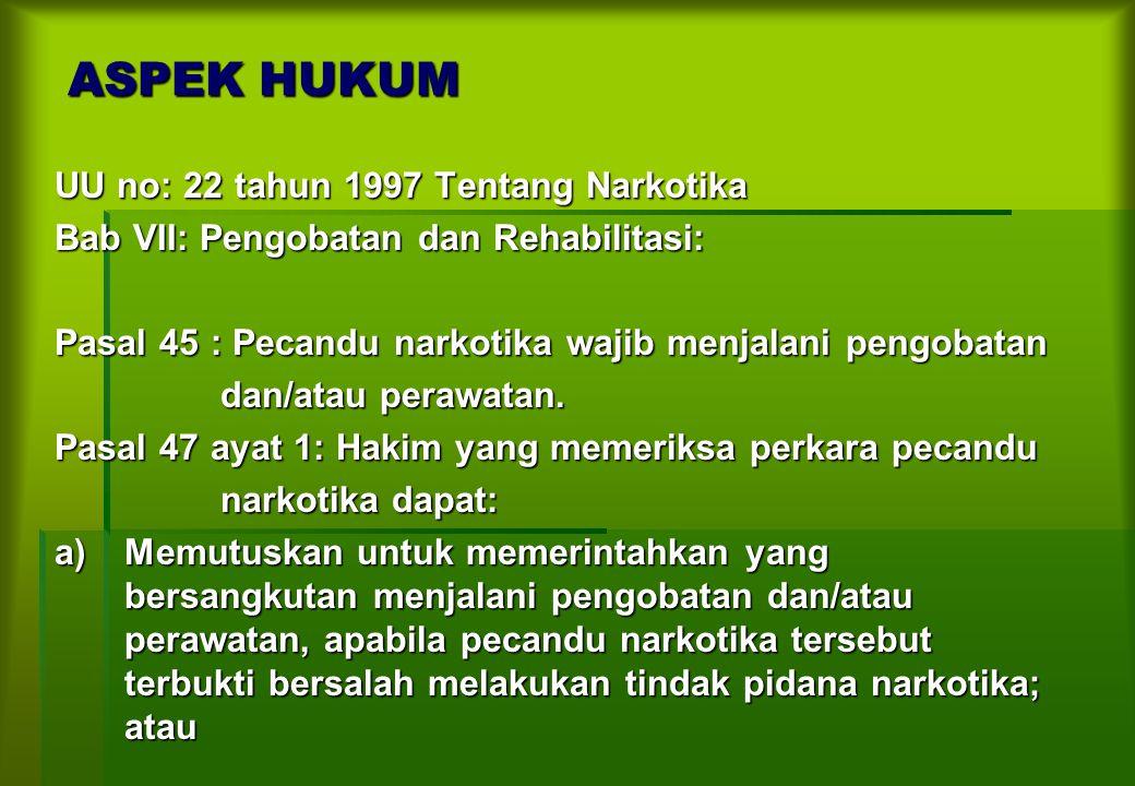 ASPEK HUKUM UU no: 22 tahun 1997 Tentang Narkotika