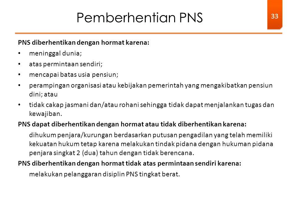 Pemberhentian PNS PNS diberhentikan dengan hormat karena: