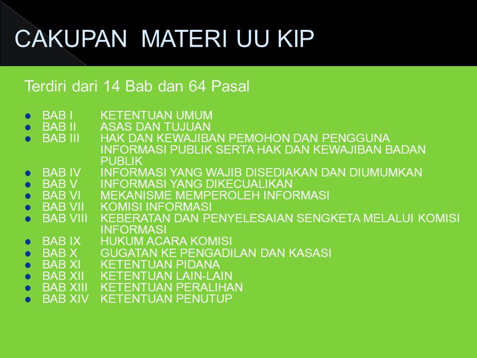 CAKUPAN MATERI UU KIP Terdiri dari 14 Bab dan 64 Pasal