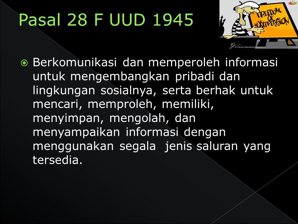 Pasal 28 F UUD 1945
