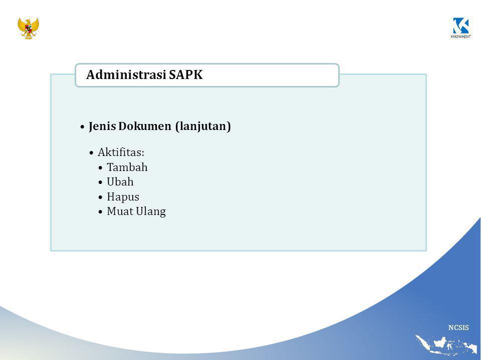 Administrasi SAPK Jenis Dokumen (lanjutan) Aktifitas: Tambah Ubah