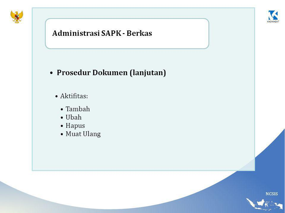 Prosedur Dokumen (lanjutan) Administrasi SAPK - Berkas