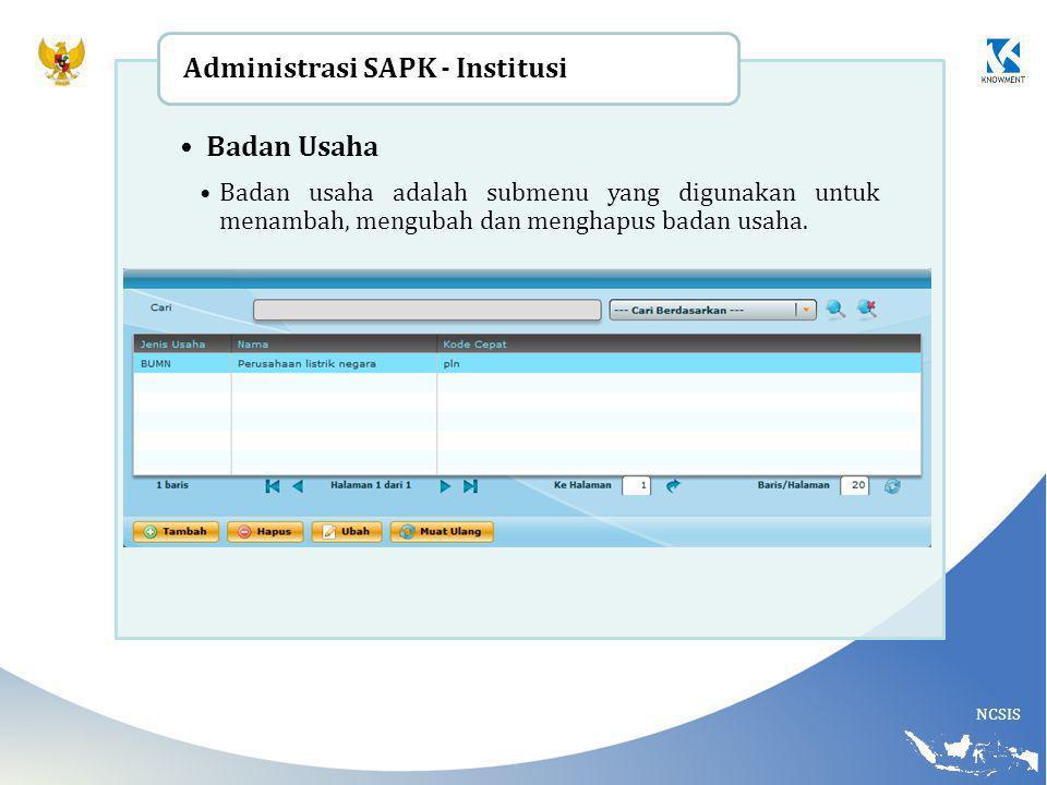 Administrasi SAPK - Institusi Badan Usaha