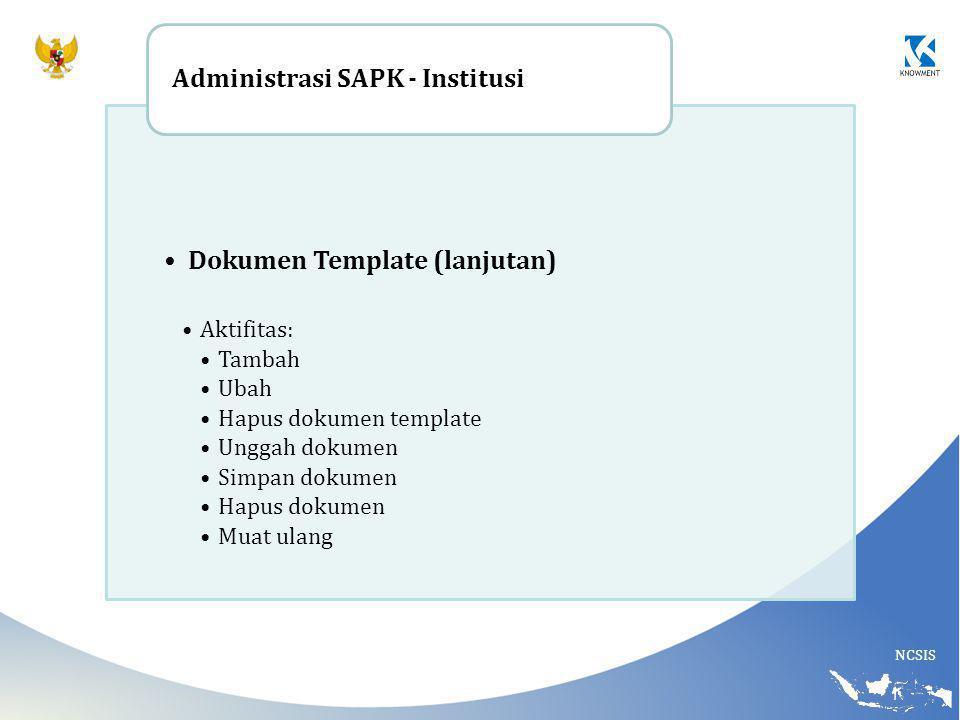 Dokumen Template (lanjutan) Administrasi SAPK - Institusi