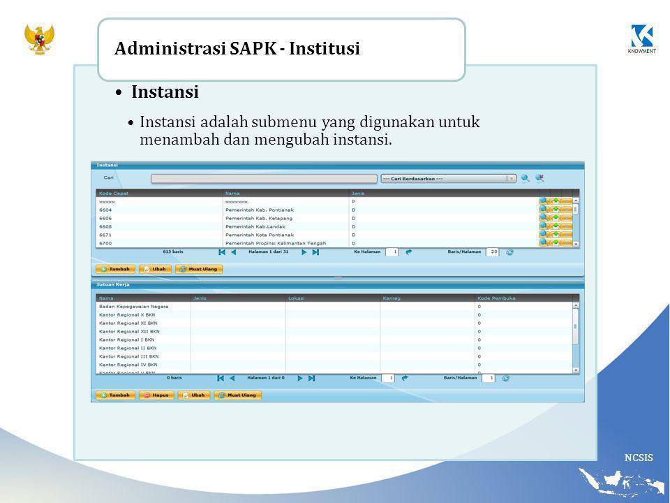 Administrasi SAPK - Institusi Instansi