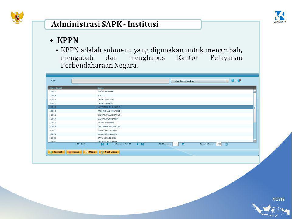 Administrasi SAPK - Institusi KPPN