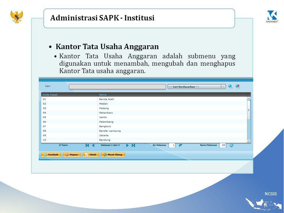 Administrasi SAPK - Institusi Kantor Tata Usaha Anggaran