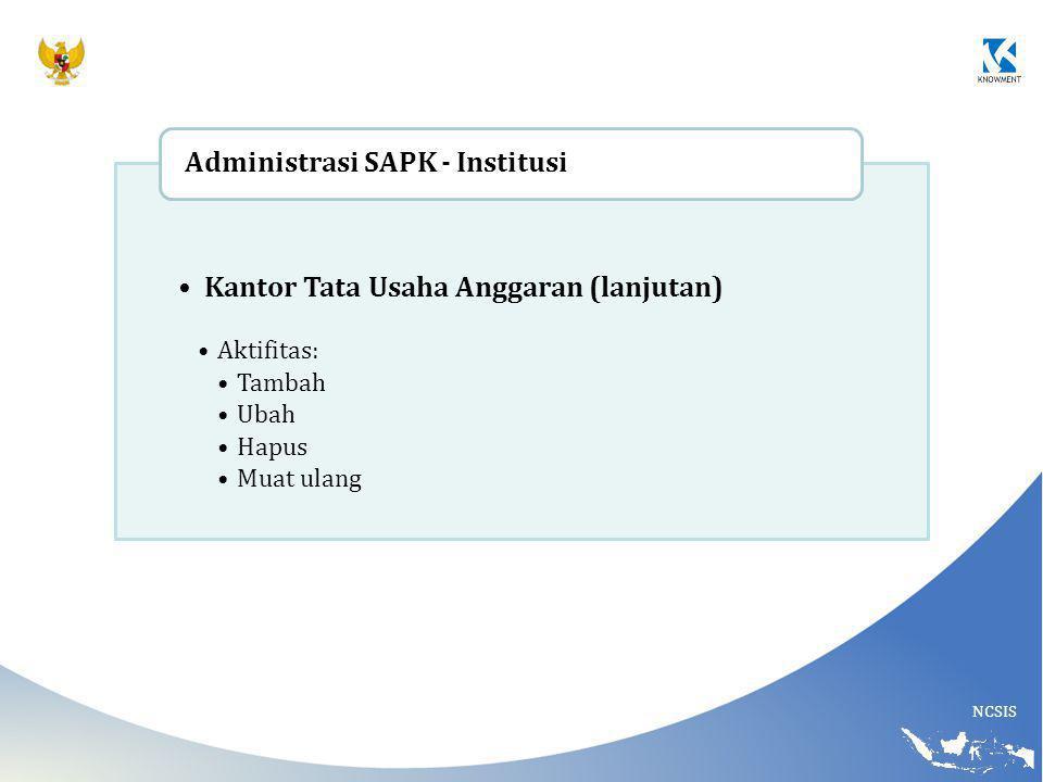 Kantor Tata Usaha Anggaran (lanjutan) Administrasi SAPK - Institusi