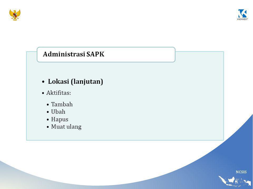 Administrasi SAPK Lokasi (lanjutan) Aktifitas: Tambah Ubah Hapus