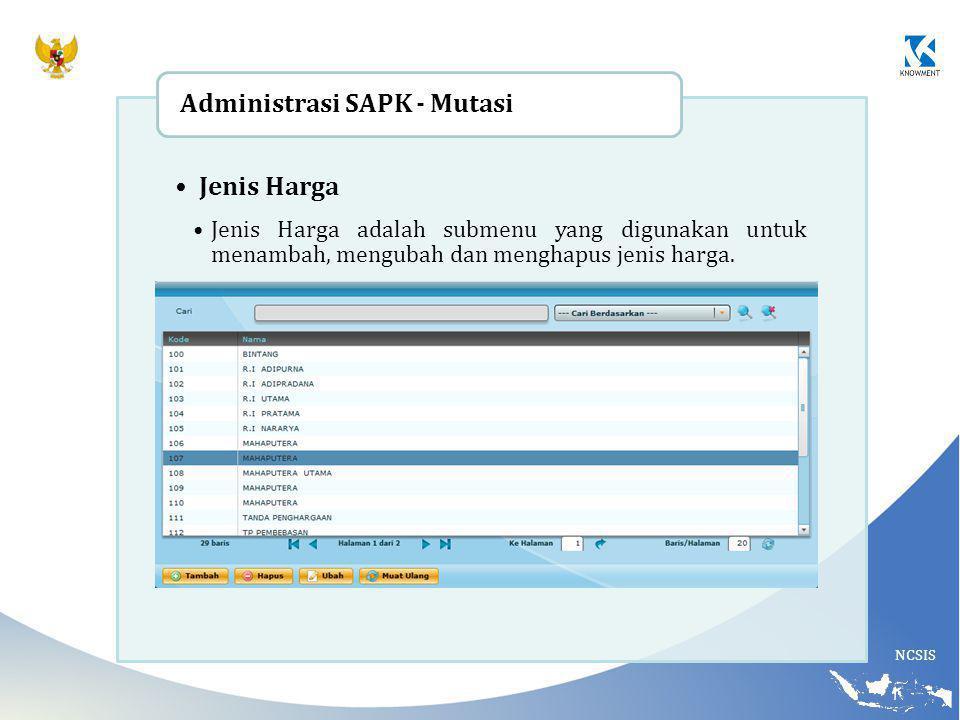 Administrasi SAPK - Mutasi Jenis Harga