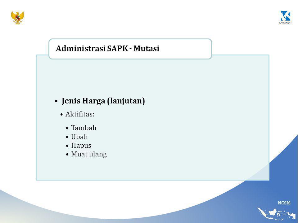 Jenis Harga (lanjutan) Administrasi SAPK - Mutasi