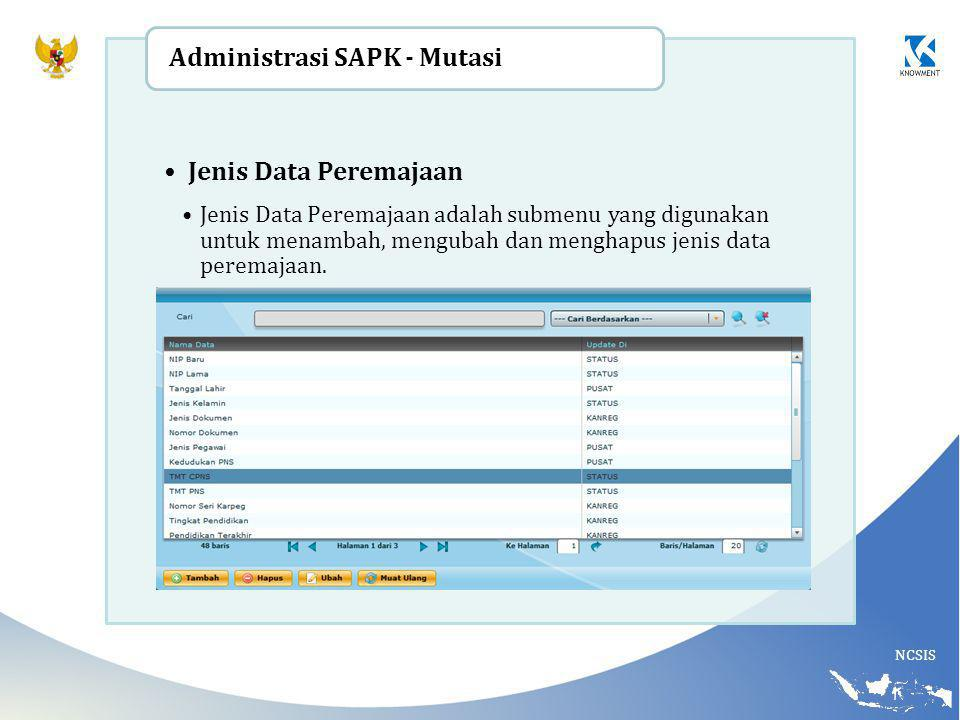 Administrasi SAPK - Mutasi Jenis Data Peremajaan