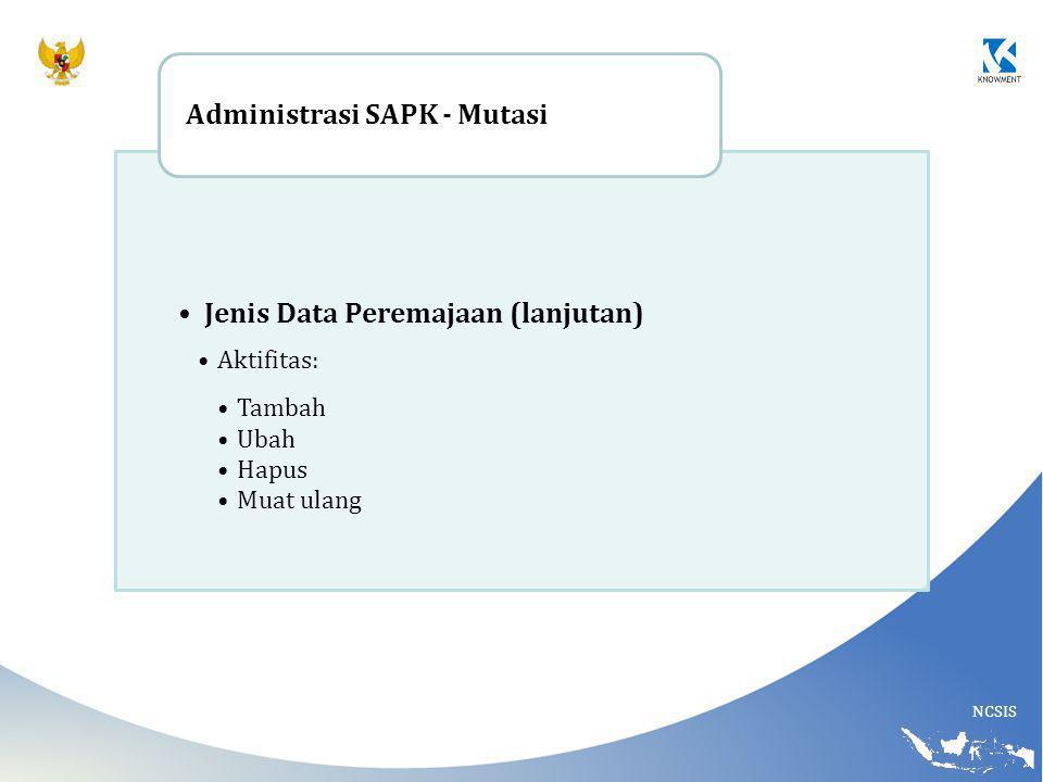 Jenis Data Peremajaan (lanjutan) Administrasi SAPK - Mutasi
