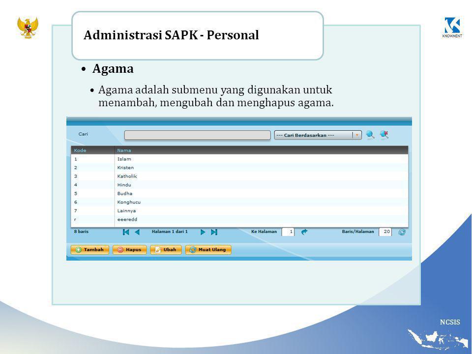 Administrasi SAPK - Personal Agama