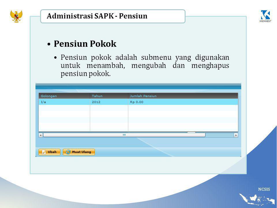 Pensiun Pokok Administrasi SAPK - Pensiun