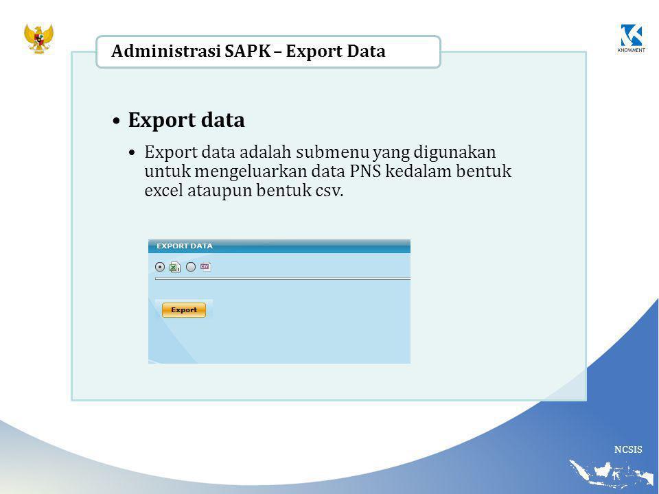 Export data Administrasi SAPK – Export Data