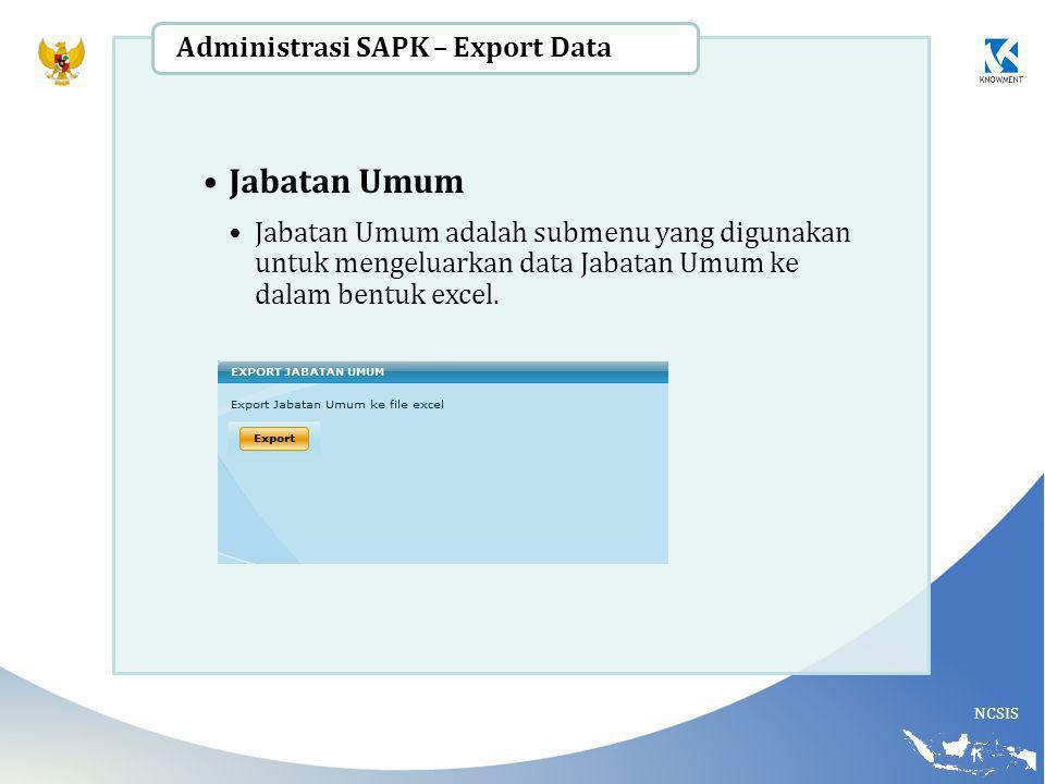 Jabatan Umum Administrasi SAPK – Export Data