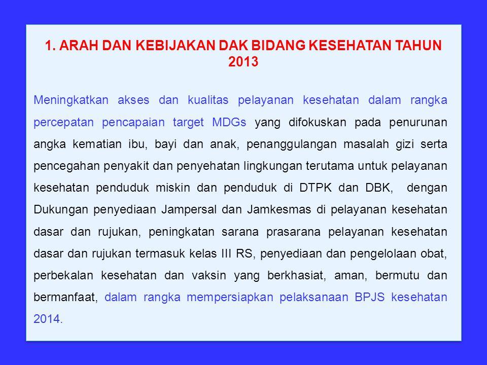 1. ARAH DAN KEBIJAKAN DAK BIDANG KESEHATAN TAHUN 2013