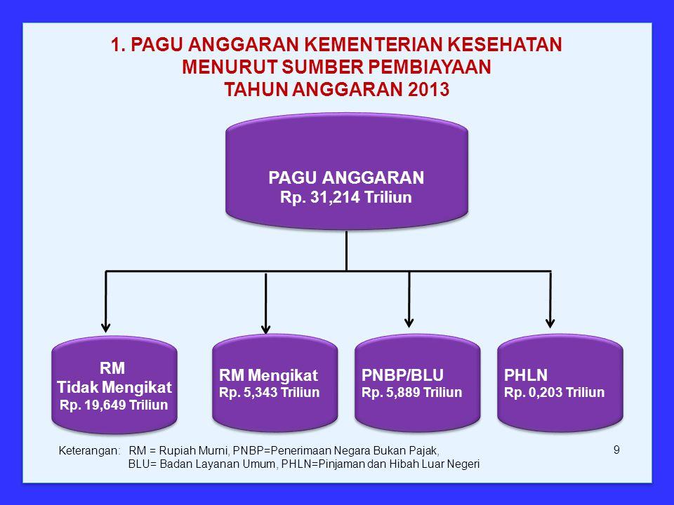 1. PAGU ANGGARAN KEMENTERIAN KESEHATAN MENURUT SUMBER PEMBIAYAAN TAHUN ANGGARAN 2013
