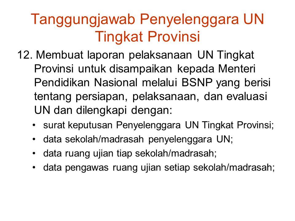 Tanggungjawab Penyelenggara UN Tingkat Provinsi