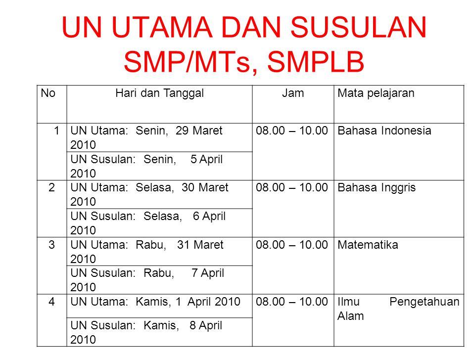 UN UTAMA DAN SUSULAN SMP/MTs, SMPLB
