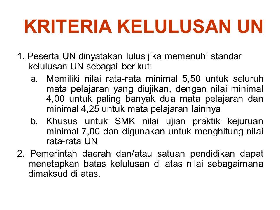 KRITERIA KELULUSAN UN 1. Peserta UN dinyatakan lulus jika memenuhi standar kelulusan UN sebagai berikut: