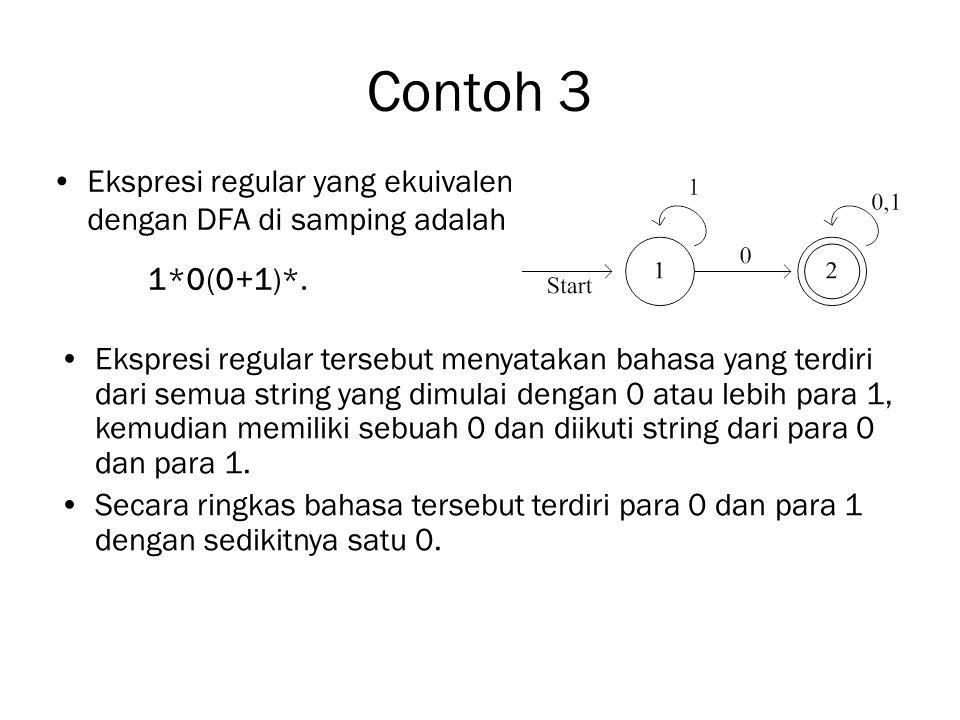 Contoh 3 Ekspresi regular yang ekuivalen dengan DFA di samping adalah