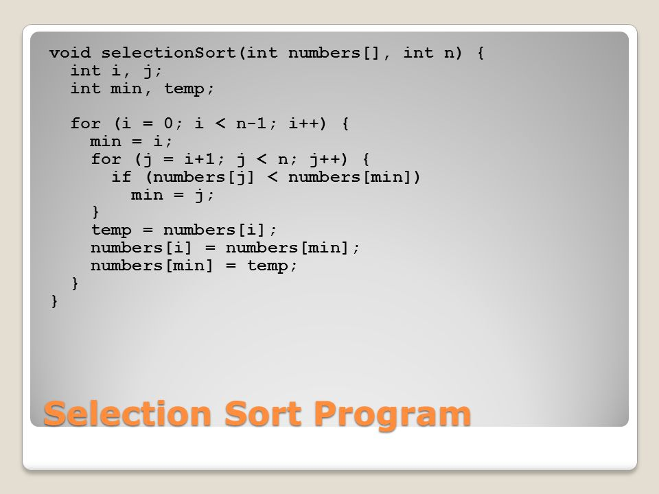 Selection Sort Program
