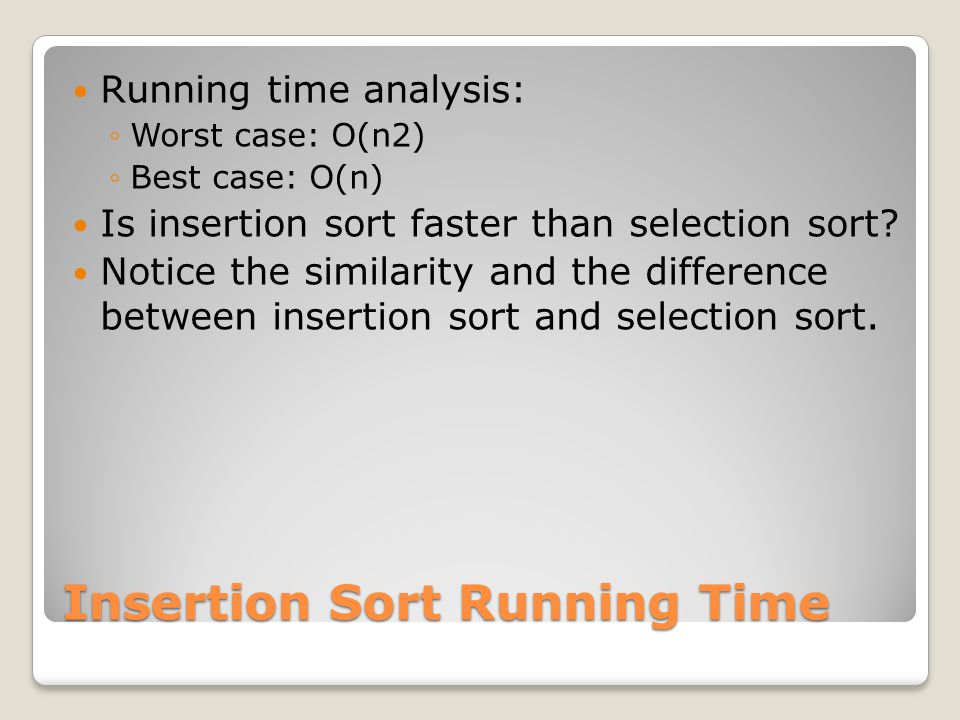 Insertion Sort Running Time